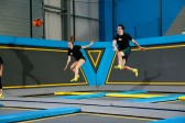 Dodgeball match on trampolines