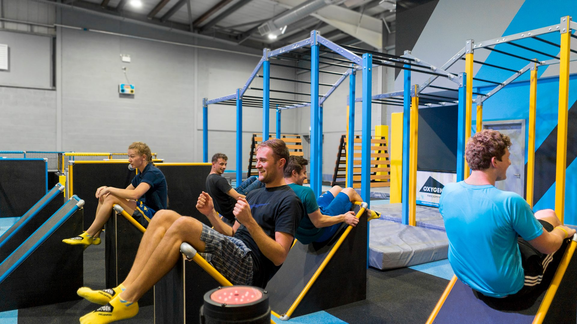 Resistance training class at trampoline park