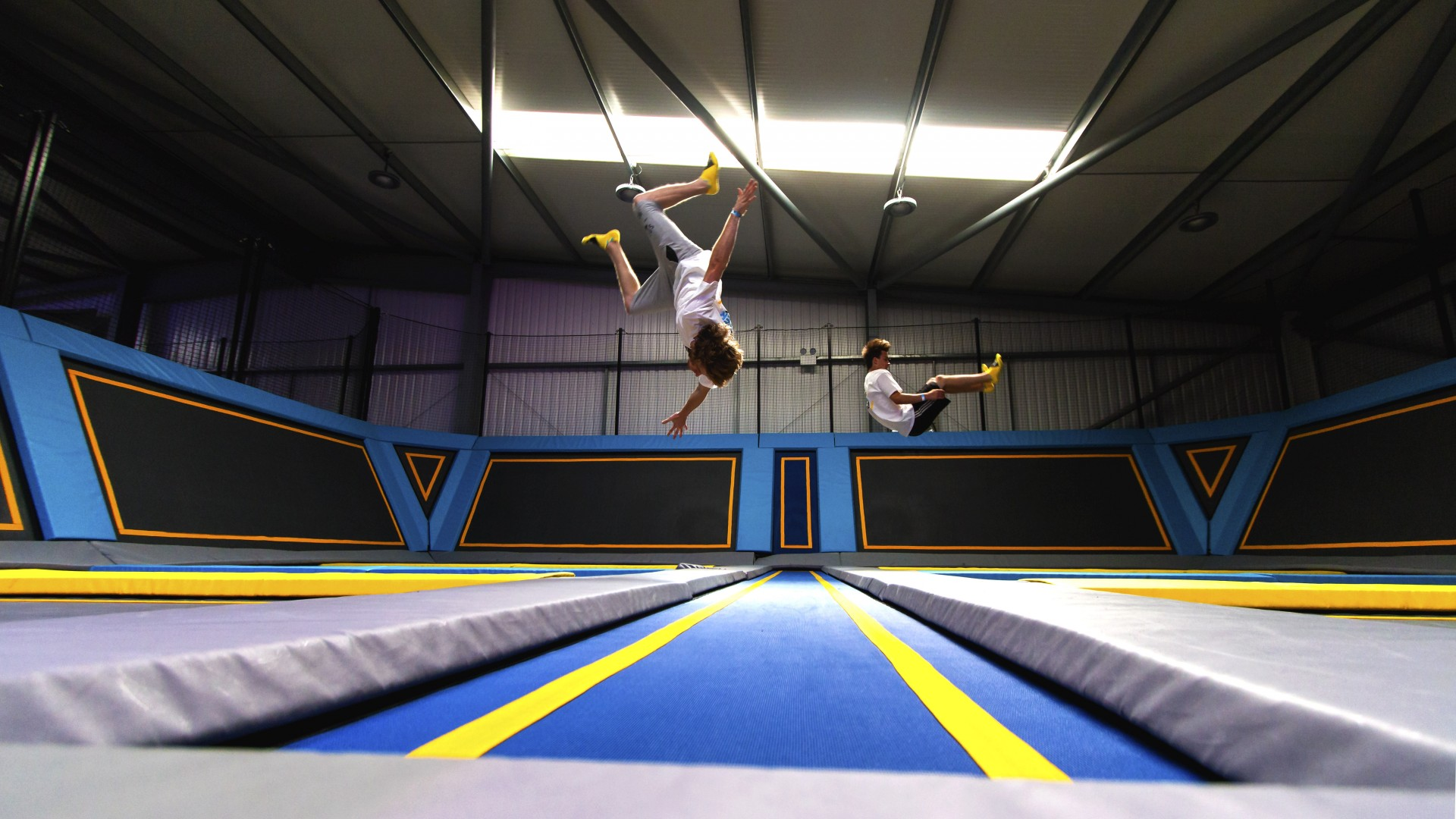 trampolining flips in the air
