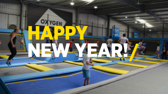 Happy new year trampoline park jumping photo